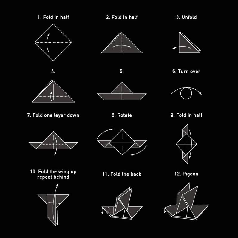 鳩 折り方 折り紙